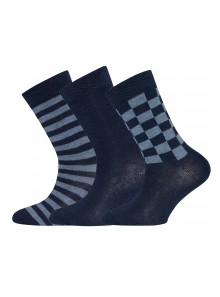 Ewers Socken 3er Pack Ringel/Karo/Uni