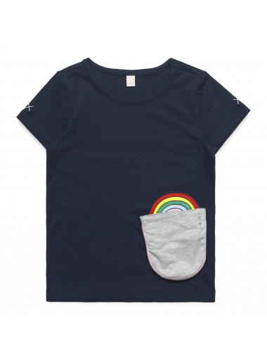 Esprit T Shirt Mit Motiv Tasche Regenbogen