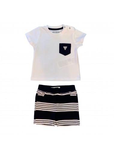 Guess T-Shirt + Shorts Streifen-Look